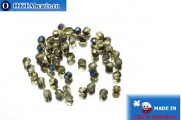 Czech fire polished beads grey AB (BR50510) 3mm, 50pc