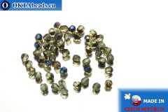 Czech fire polished beads grey AB (BR50510) 3mm, 50pc