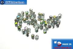 Czech fire polished beads grey AB (V20210) 3mm, 50pc