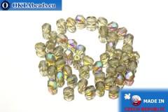 Czech fire polished beads grey AB (X40020) 4mm, 50pc
