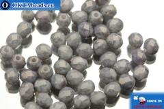 Czech fire polished beads grey travertin luster (03000/15435) 4mm, 50pc