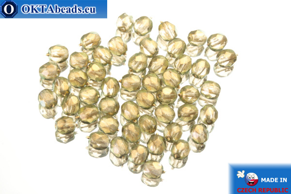 Czech fire polished beads grey gold luster (69270CR) 4mm, 50pc