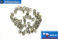 Czech fire polished beads grey gold luster (ZR40010) 3mm, 50pc