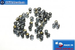 Czech fire polished beads blue bronze (ZR30330) 3mm, 50pc