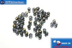 Czech fire polished beads blue bronze (ZR30330) 3mm, 50pc