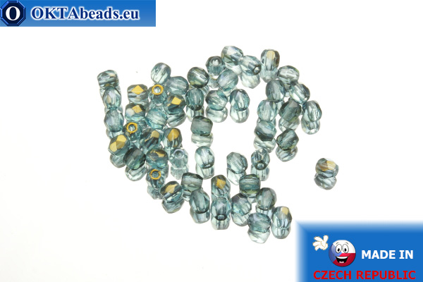 Czech fire polished beads blue bronze (ZR60010) 3mm, 50pc