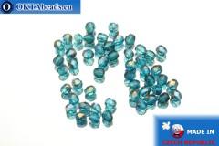 Czech fire polished beads blue bronze (ZR60040) 3mm, 50pc