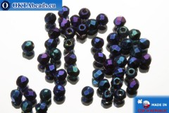 Czech fire polished beads blue iris (21435JT) 2mm, 50pc FP357