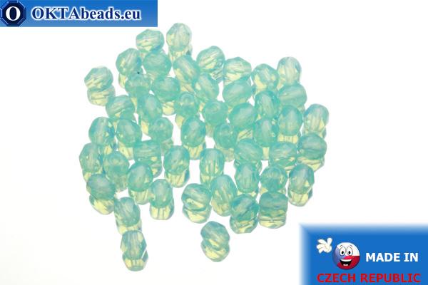 Czech fire polished beads blue opal (61010) 4mm, 50pc