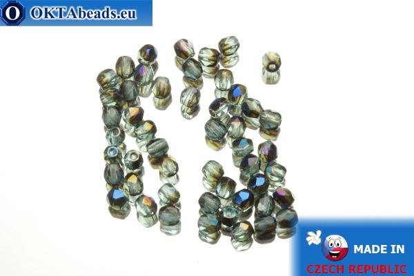 Czech fire polished beads blue AB (BR60010) 3mm, 50pc