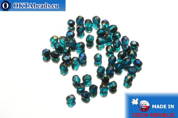 Czech fire polished beads blue AB (BR60080) 3mm, 50pc
