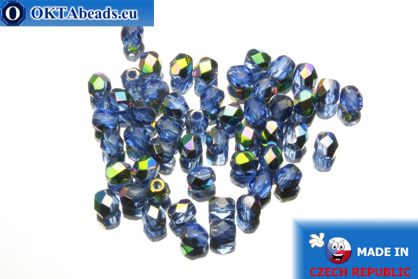 Czech fire polished beads blue AB (V30030) 4mm, 50pc