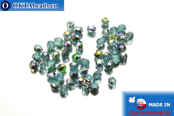 Czech fire polished beads blue AB (V60010) 3mm, 50pc