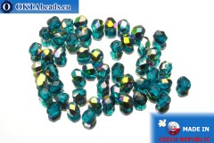 Czech fire polished beads blue AB (V60150) 4mm, 50pc