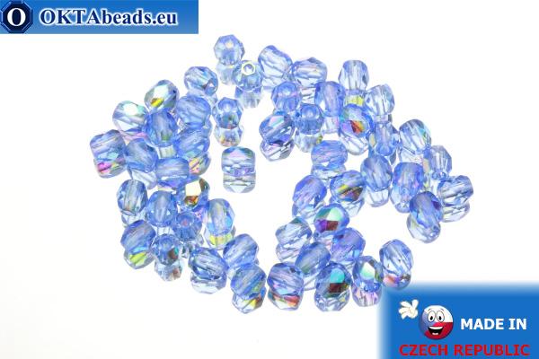 Český korálky ohňovky modrý AB (X30030) 4mm, 50ks