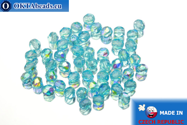 Czech fire polished beads blue AB (X60020) 4mm, 50pc