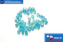 Czech fire polished beads blue AB (X60040) 3mm, 50pc