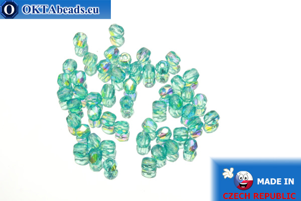 Czech fire polished beads blue AB (X60130) 3mm, 50pc