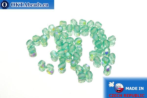 Czech fire polished beads blue AB (X60210) 3mm, 50pc