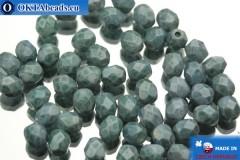 Český korálky ohňovky modrý travertin (03000/15425) 4mm, 50ks