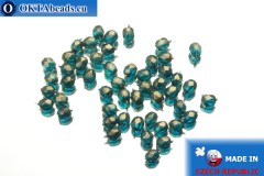 Czech fire polished beads blue gold luster (69266CR) 3mm, 50pc