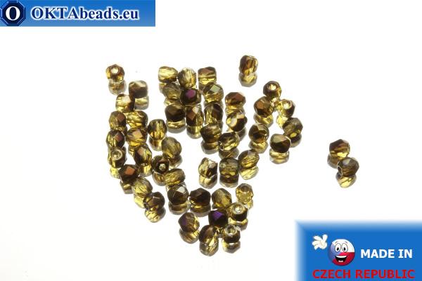 Czech fire polished beads topaz iris (PR10040) 3mm, 50pc