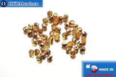 Czech fire polished beads topaz copper (C10040) 3mm, 50pc