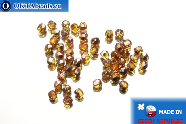 Czech fire polished beads topaz copper (C10060) 3mm, 50pc