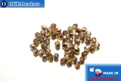 Czech fire polished beads topaz copper (C10230) 3mm, 50pc
