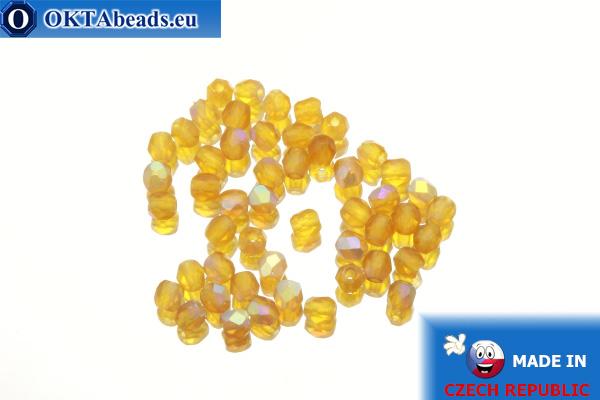 Český korálky ohňovky topas AB matný (MX10090) 3mm, 50ks