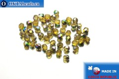 Czech fire polished beads topaz AB (V10040) 3mm, 50pc