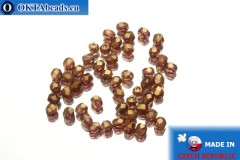 Czech fire polished beads topaz gold luster (LZ10070) 3mm, 50pc