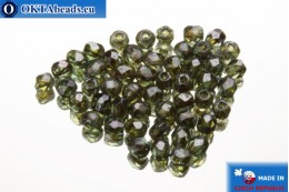 Czech fire polished beads green luster (LN00030) 2mm, 50pc FP366