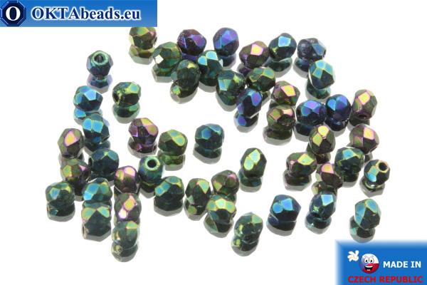 Czech fire polished beads green iris (21455JT) 3mm, 50pc