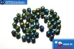 Czech fire polished beads green iris (21455JT) 4mm, 50pc