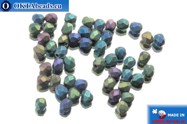 Czech fire polished beads green iris matte (21155JT) 3mm, 50pc