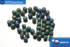 Czech fire polished beads green iris matte (21155JT) 4mm, 50pc