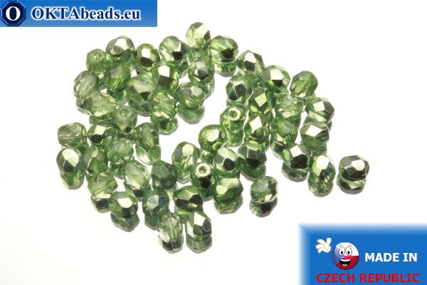 Czech fire polished beads green metallic (K2502CR) 4mm, 50pc