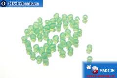 Чешские граненые бусины зеленые опал (61100) 3мм, 50шт