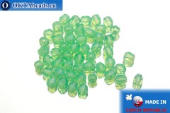 Czech fire polished beads green opal (61100) 4mm, 50pc