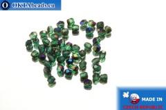 Чешские граненые бусины зеленые радужные (BR50730) 3мм, 50шт