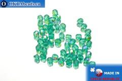 Чешские граненые бусины зеленые радужные (X60220) 3мм, 50шт