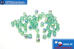 Czech fire polished beads green AB (X60110) 3mm, 50pc