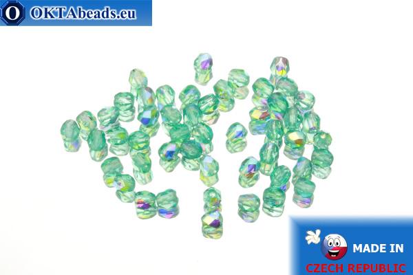 Czech fire polished beads green AB (X60110) 3mm, 50pc