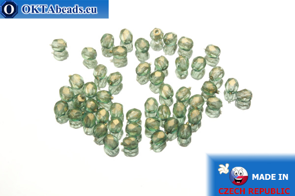 Czech fire polished beads green gold luster (69267CR) 3mm, 50pc