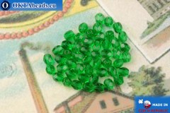 Czech fire polished beads green (50140) 4mm, 50pc, FP371
