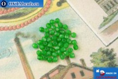Czech fire polished beads green opal (51010) 3mm, 50pc