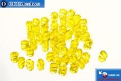 Czech fire polished beads yellow (80020) 4mm, 50pc