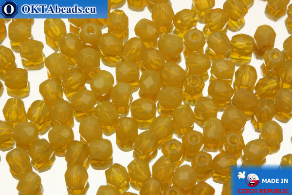 Czech fire polished beads yellow alabaster (11000) 3mm, 50pc