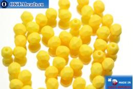 Czech fire polished beads yellow matte (02010/29573) 4mm, 50pc
